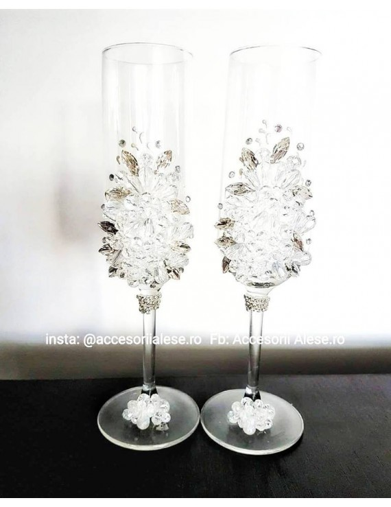 Pahare accesorizate nunta cristale regala miri - nasi