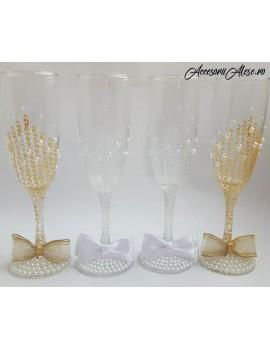 Pahare pictate miri - nasi auriu perle alb nunta parinti socri