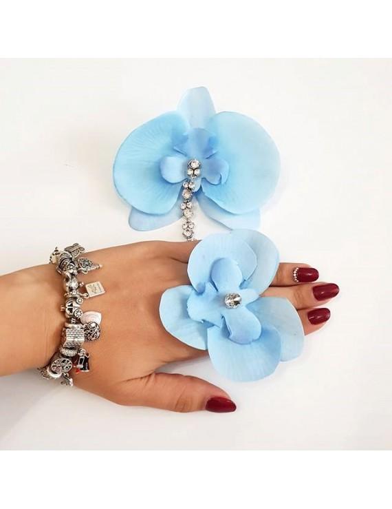 Set inel si cercel orhidee bleu