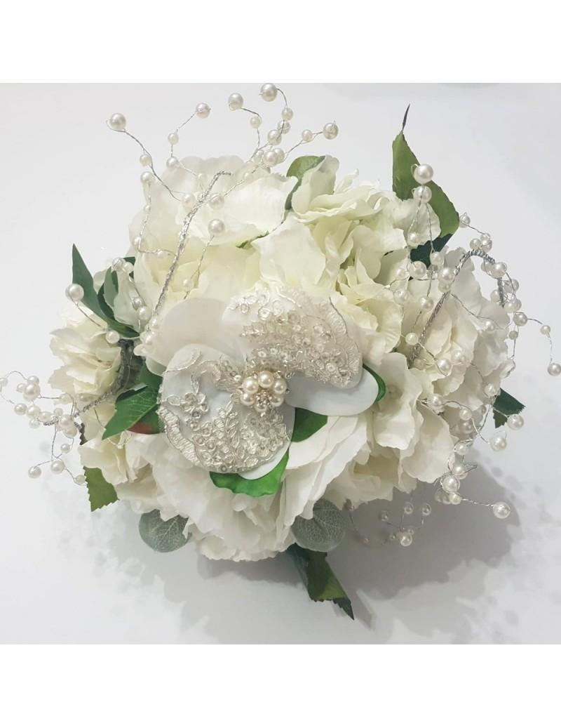Buchet Nunta Din Flori Artificiale Si Cristale Pentru Mireasa Sau