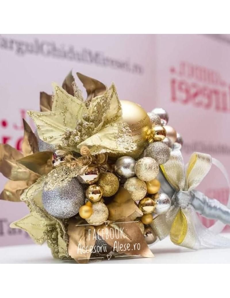 Buchet Nunta Din Flori Artificiale Si Cristale Pentru Mireasa