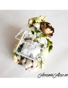 Pernuta verighete nunta colivie cu flori artificiale floare de bumbac