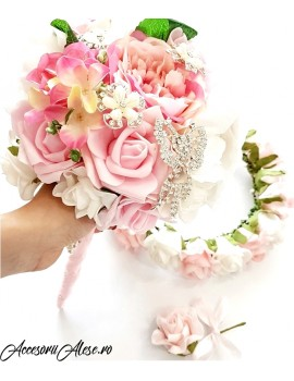 Set buchet nunta, coronita pentru mireasa si nasa cu brose