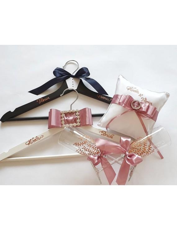 Set umerase miri nunta rose gold roz prafuit pudrat pernuta verighete negru