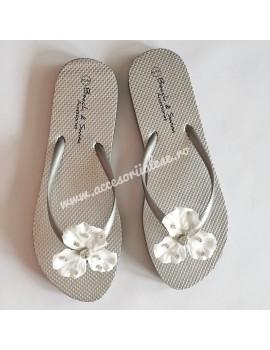 Papuci mireasa cu flori si cristale