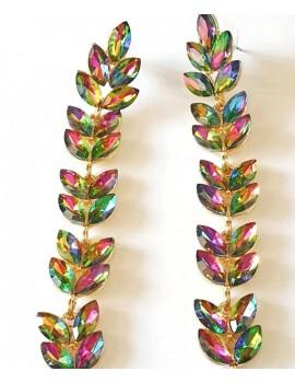 Cercei cu cristale multicolor