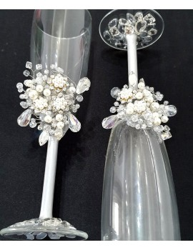 Pahare nunta miri, cu cristale , pictate