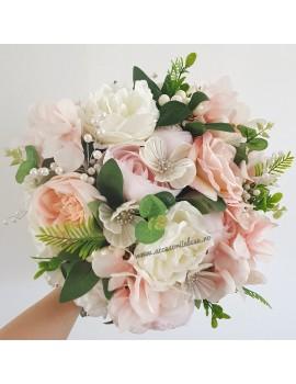 Buchet nunta pentru mireasa si nasa - 2019 accesorii alese.ro roz corai pal ivoir alb