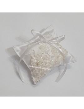 Pernuta pentru verighete - de nunta, cu dantela roz si cristale