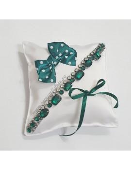 Pernuta verighete nunta mireasa cristale verde verzi