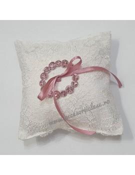 Pernuta pentru verighete - cu cristale roz