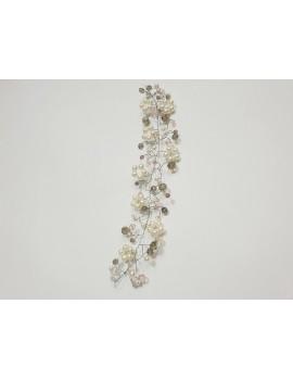 Tiara cu cristale roz alb si perle coafura mireasa nunta sau nasa