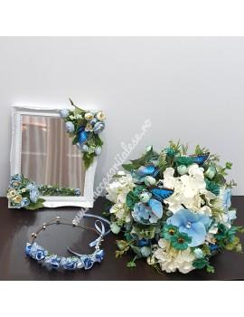 Buchet nunta pentru mireasa si nasa , cu fluturi, flori, albastre, albe, ivoir, oglinda- Model 1