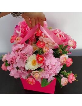 Aranjament flori artificiale roz