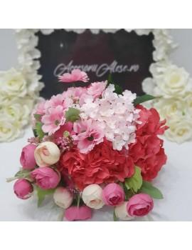 Buchet mireasa / nasa , cu flori roz, fucsia si crem
