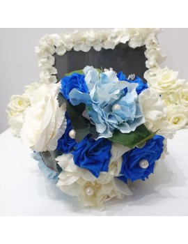Buchet mireasa / nasa , cu flori albastre, ivoir, bleu si lavanda