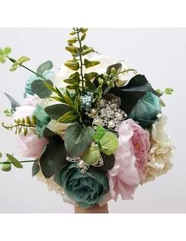 Buchet nunta pentru mireasa si nasa -roz , verde, crem