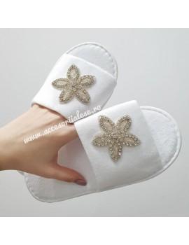 papuci mireasa nunta flori cristale argintii