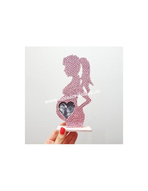 Rama foto gravida cristale - cadou unicat ecografie