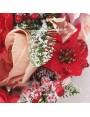 Aranjament flori textile mov, lila, corai - cadou unicat