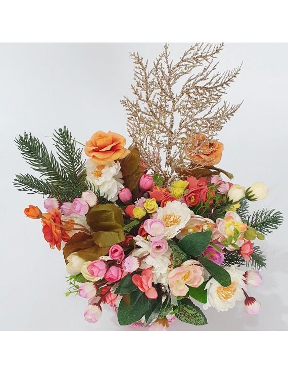 Aranjament flori textil cu mesaj personalizat