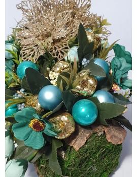 Aranjament flori verzi artificiale matase cadou sotie iubita prietena sora bunica mamaie