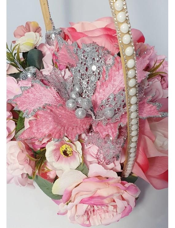 Aranjament flori matase - cadou unicat - flori roz corai fluturasi