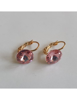 Cercei swarovski roz , placati cu aur