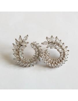 Cercei aurii cu strasuri zirconiu mireasa nunta ocazie