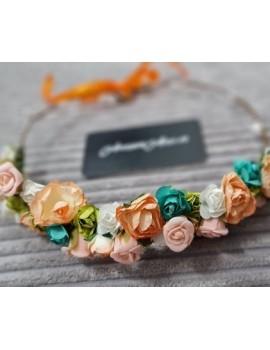 Coronita flori corai, portocalii, verzi