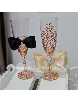 Pahare nunta pictate de lux luxoase cristale pictate miri nasi nunta