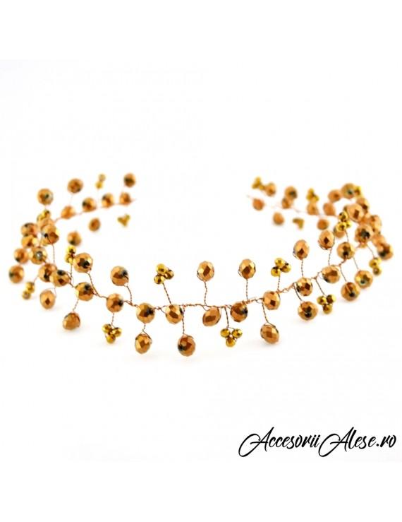 Tiara mireasa cu cristale aurii