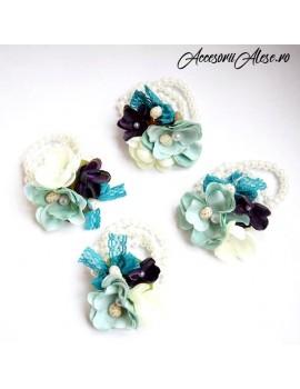 Corsaje flori bleu menta scoici tematica marina domnisoare de onoare mireasa