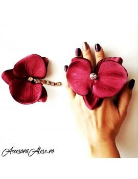 Set Cercel Orhidee si Inel marsala