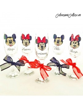 Pahare pictate manual personalizate disney minnie mickey botez parinti/nasi