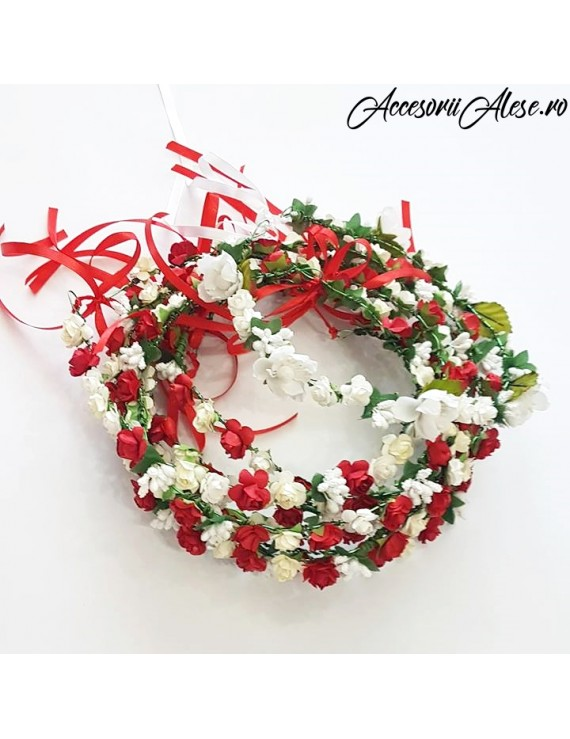 Coronita cu flori artificiale rosii, domnisoare de onoare nunta mireasa