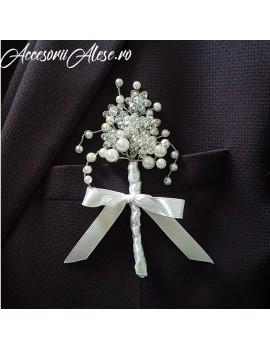 Cocarde mire nunta perle eleganta