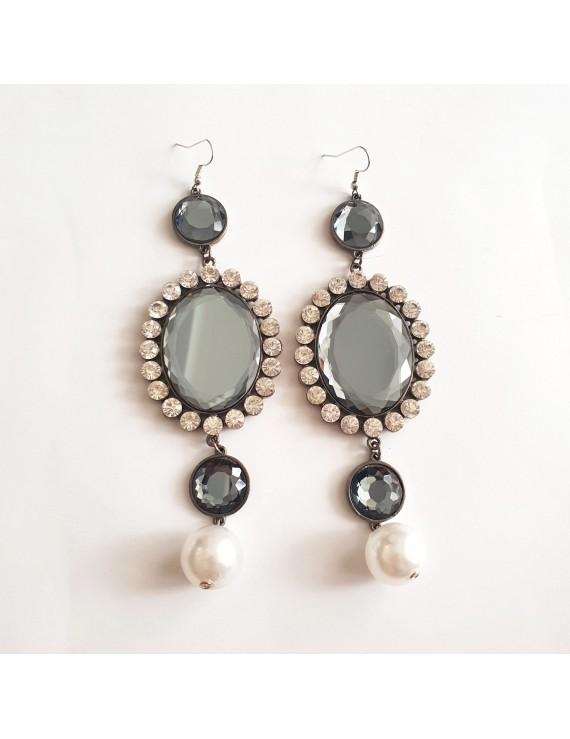 Cercei cu cristale perle lungi
