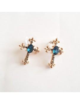 Cercei cu cristale bleumarin